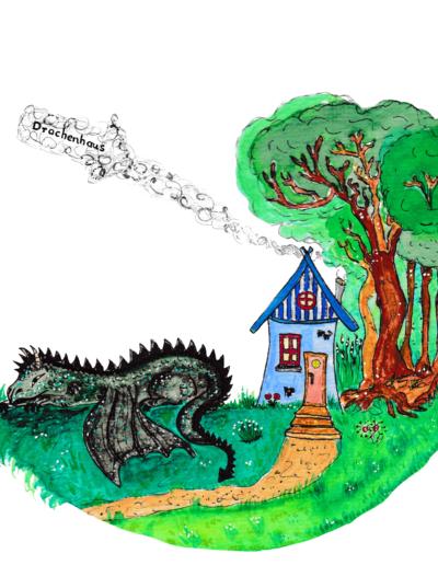 Hexenhaus mit liegendem Drachen